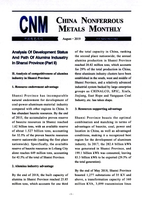 《China Nonferrous Metals Monthly》2019年08期